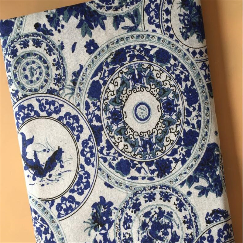 Porcelain Printed Linen Fabric Cotton Sewing DIY Patchwork Canvas Material Quilting Crafts For Tablecloth Textile
