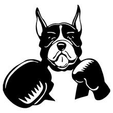 CS-522#19.3*20cm Sticker Dog in boxing gloves funny car sticker and decal silver/black vinyl auto stickers