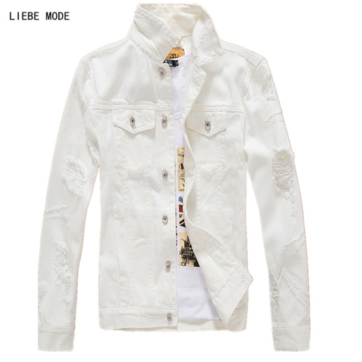 Mens Denim Jackets and Coats Korean Fashion Mens Ripped Jeans Jacket Male Brand Clothing Black White Red Pink XXXL