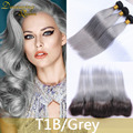 8A Gray Dark Root Peruvian Virgin Hair 3 Bundles Ombre Hair Extensions With Frontal Straight Grey Weave Ombre Hair With Closure