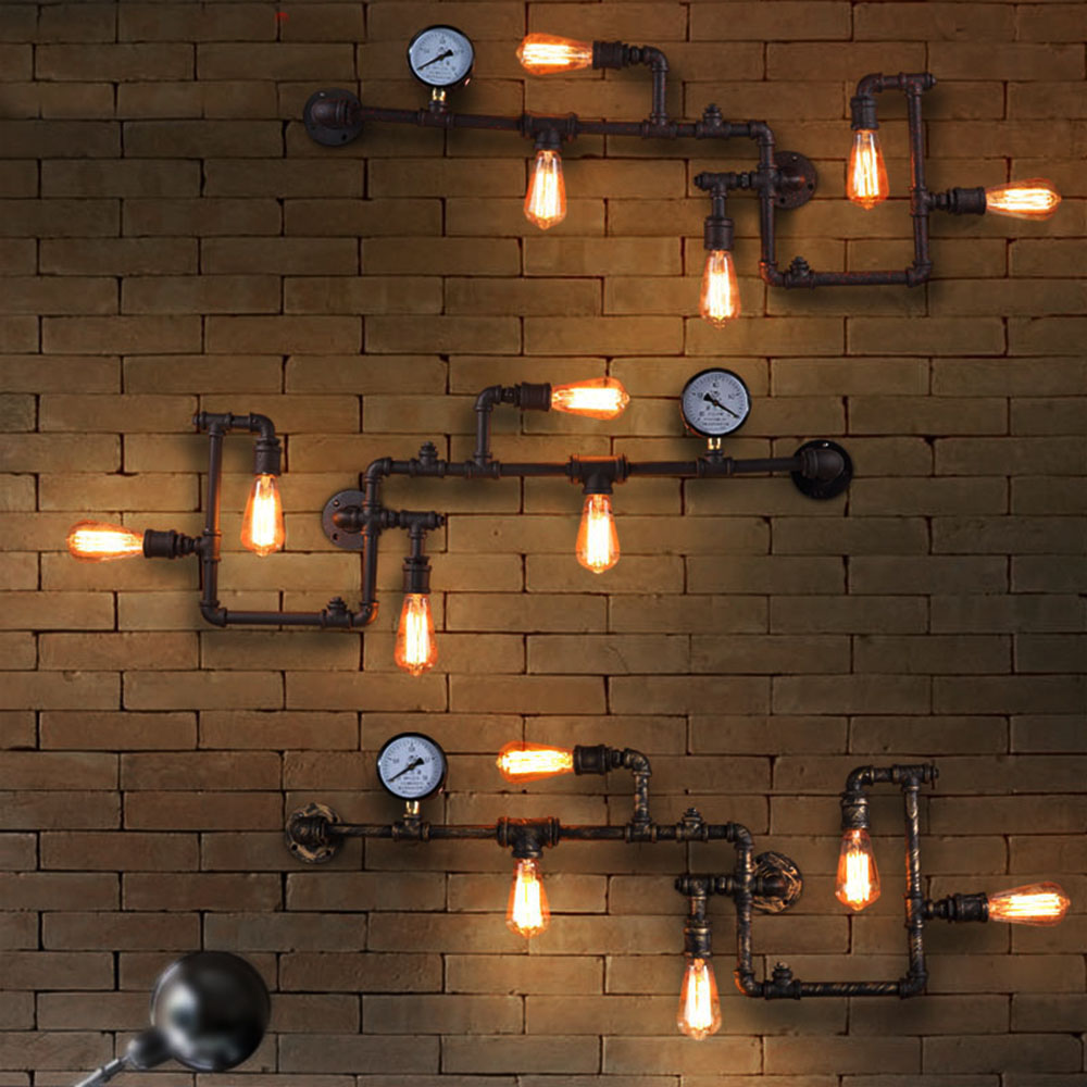 Vintage Iron Pipe Led Wall Lamp Vintage Aisle Lights Loft