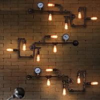 Vintage Iron Pipe LED Wall Lamp Vintage Aisle Lights loft Metal Wall Lights Lamp E27 Edison Bulbs for Bar Living Room 110V 220V