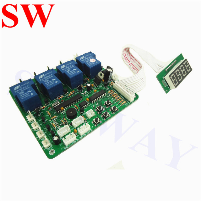 US $35 69 |JY 21 4 digits coin operated timer board for 1 4 devices pcb  time control with all wires for car washing machine vending machine-in