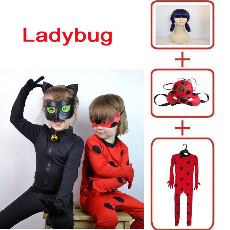 Hot Black Cat Noir Cosplay Costumes disfraz ladybug Jumpsuit / wig For PURIM child Adrien Marinette Superhero Cosplay girls/boy