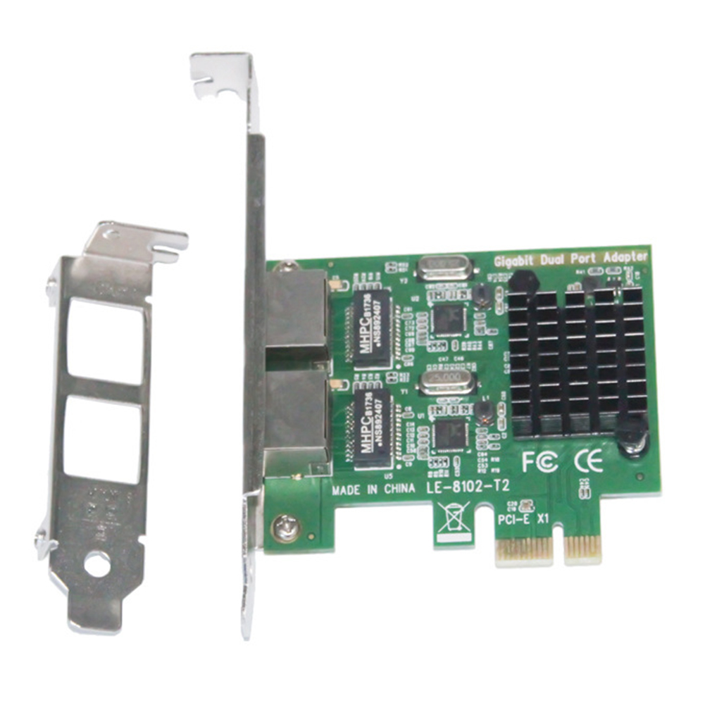 LAN Network Card Gigabit Ethernet PCI-e Easy Operation Professional 2 Ports Accessories Connectors Stable For Desktop PC Adapter