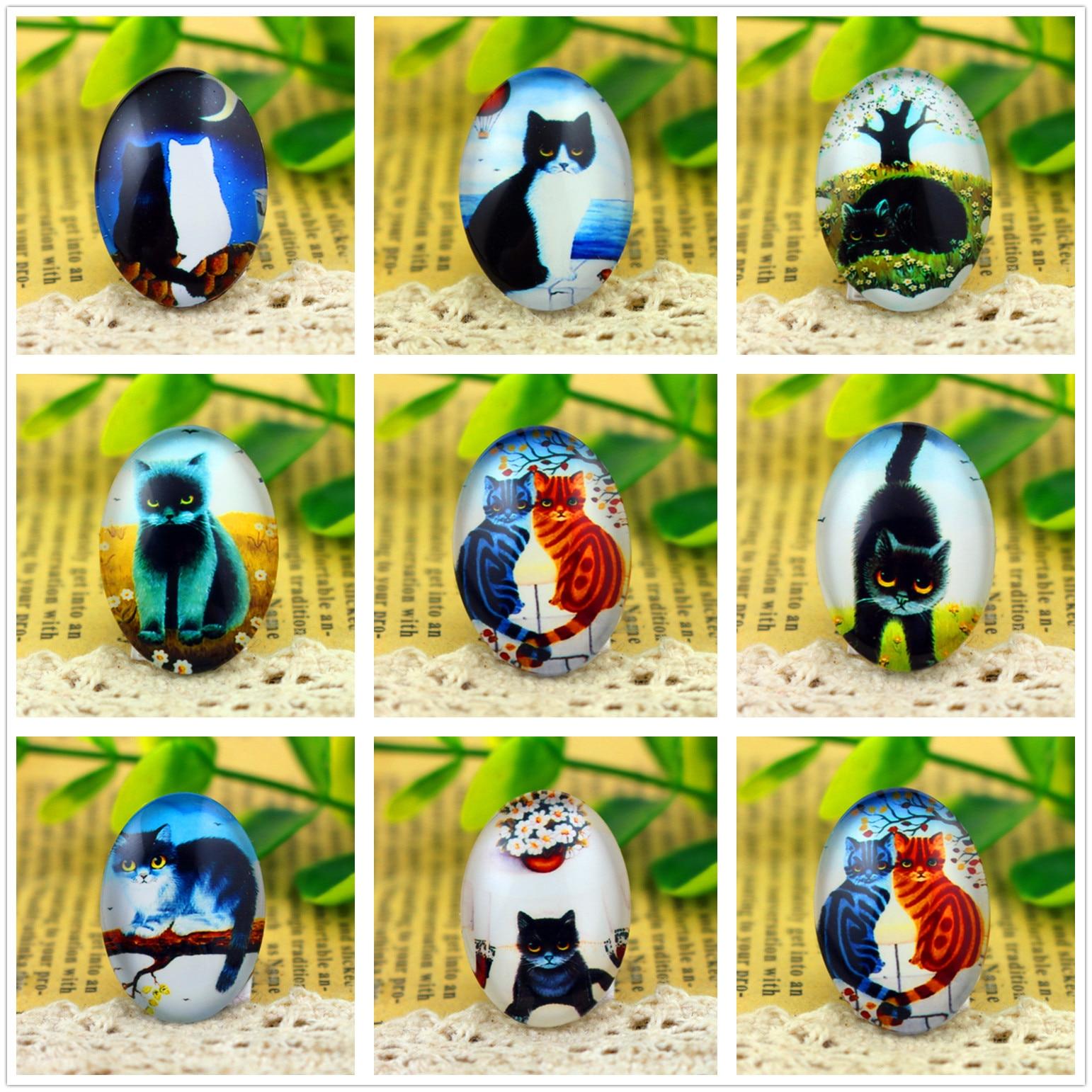 Hot Sale 10pcs 18x25mm Handmade Photo Glass Cabochons  (Cold Cat Series)