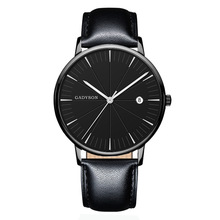 цена New Men Fashion Black Quartz Watch Leather Watchband High Quality Casual Waterproof Wristwatch Gift for men онлайн в 2017 году