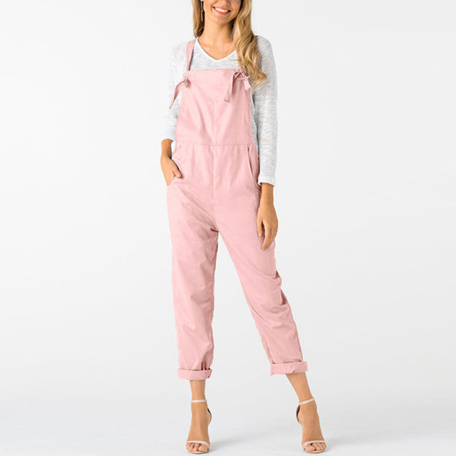 New Trendy Women Loose Jumpsuit Dungarees Solid Colors 5  Long Pockets Rompers Jumpsuits Pants Trousers Pantalon femme @30 1