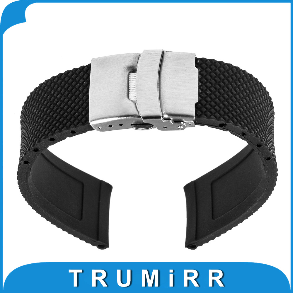22mm Silicone Rubber Watch Band for Moto 360 2 Gen 46mm 2015 Samsung Gear 2 R380 R381 R382 Stainless Steel Buckle Strap Bracelet 20mm watchband stainless steel smart watch band strap bracelet for motorola moto 360 2 2nd gen 2015 42mm smartwatch black silver