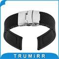 22mm caucho de silicona watch band para moto 360 2 gen 46mm 2015 samsung gear 2 r380 r381 r382 correa de hebilla de acero inoxidable pulsera