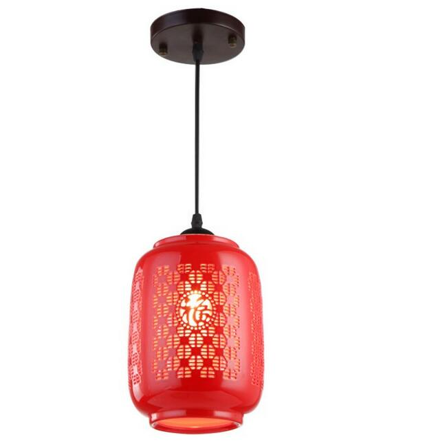 ФОТО A1 Grand China red lanterns pendant light entrance hall balcony aisle aisle lamp festive Chinese Ceramic Pendant