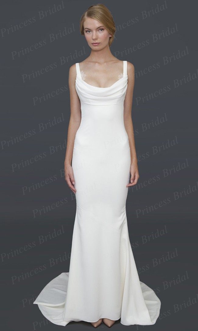 Free Shipping 2014 Sexy Low Cut Mermaid Straps Backless Sweep Train Aliexpress Wedding Dresses MD160