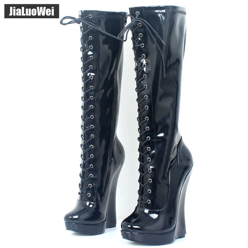 Women Ballet Boots Lace-up 18cm Wedge heel with strange Heel 3CM Platform Patent Leather Sexy Fetish Zipper Knee High boots
