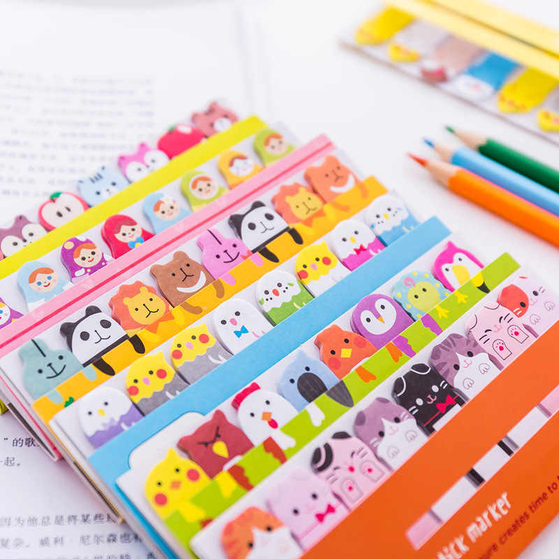 Kawaii bloc-Notes signets créatifs mignon Animal Notes autocollantes index affiché planificateur papeterie fournitures scolaires autocollants en papier