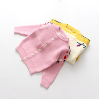 DFXD Little Girls Sweaters 2018 New Arrival Spring Pink/Yellow Flower Stitching Kids Girl Cardigan Coat Baby Princess Sweater