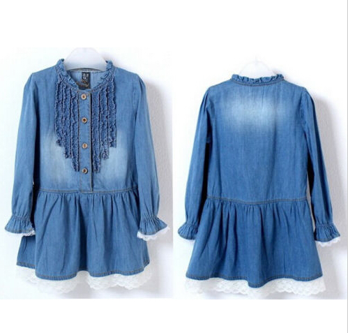 New Arrival Girls Kids Denim Blue Beautiful Lace Cowboy Clothes Long Sleeve Dresses 2-8Y 2 8y girl kids lovely denim blue