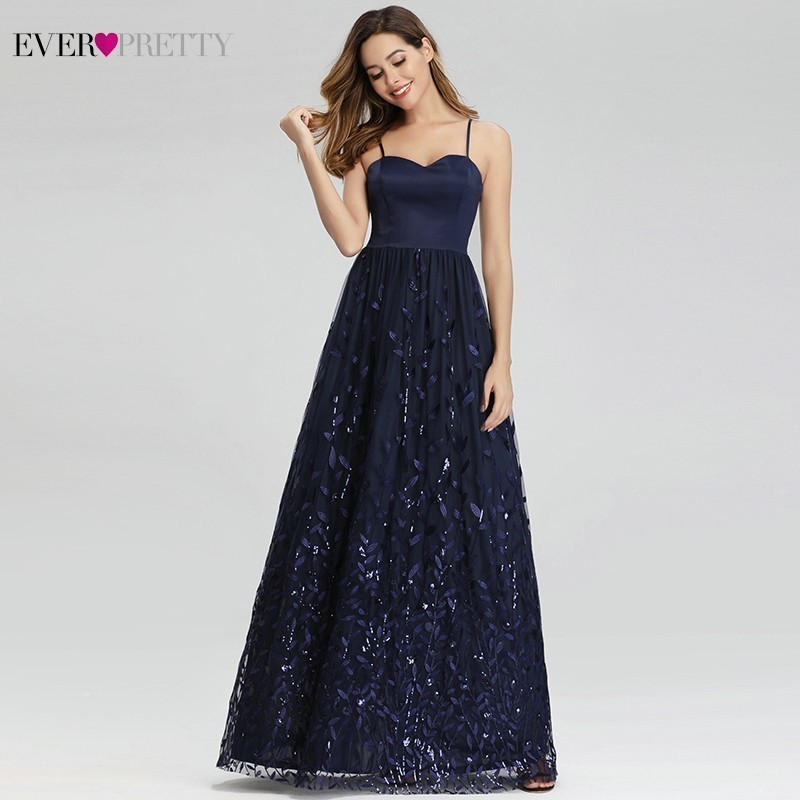 Ever Pretty Navy Blue Prom Dresses Sequined A-Line Sweetheart Spaghetti Straps Elegant Formal Party Gowns Vestido Fiesta Largo