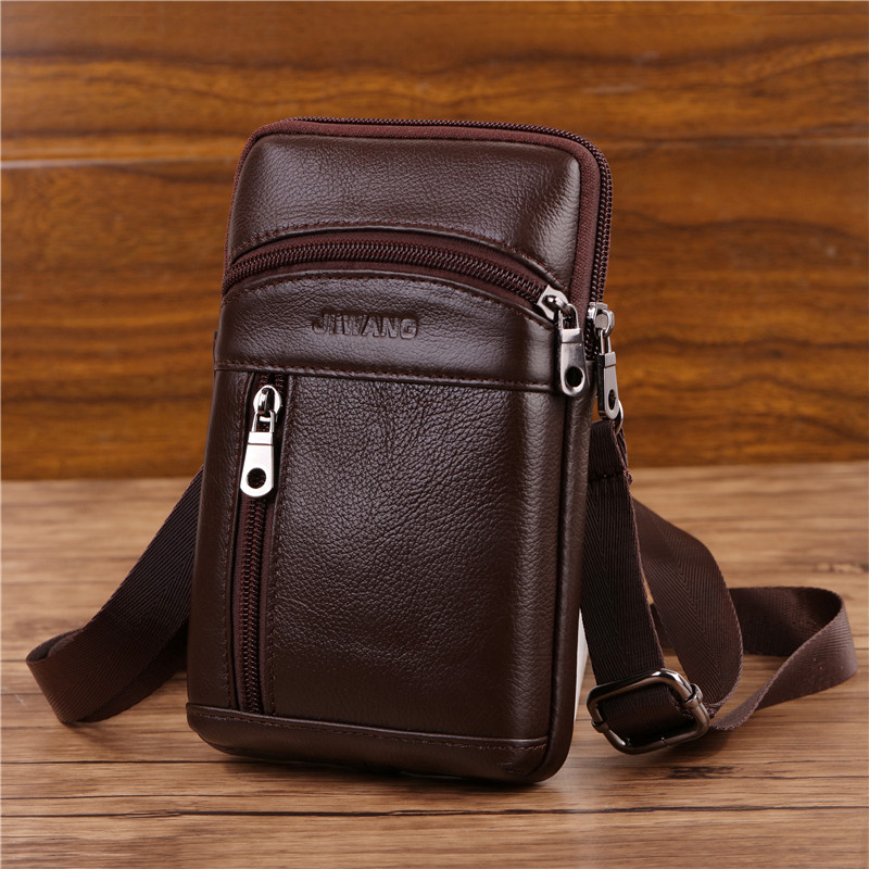 YIANG Genuine Leather Messenger Bags Men 39 s Small Cross Body Shoulder Bag Travel Style Waist Belt Bags for Man Waist Pack black in Crossbody Bags from Luggage amp Bags