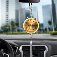 Fashion Alloy Car Clock Perfume Refill Storage Hanging Pendant Auto Rearview Mirror Interior Decoration Ornaments Car