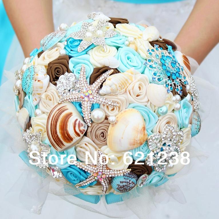 7 Inch Blue Shell Brooch Bouquet Handmade Ocean Theme Wedding