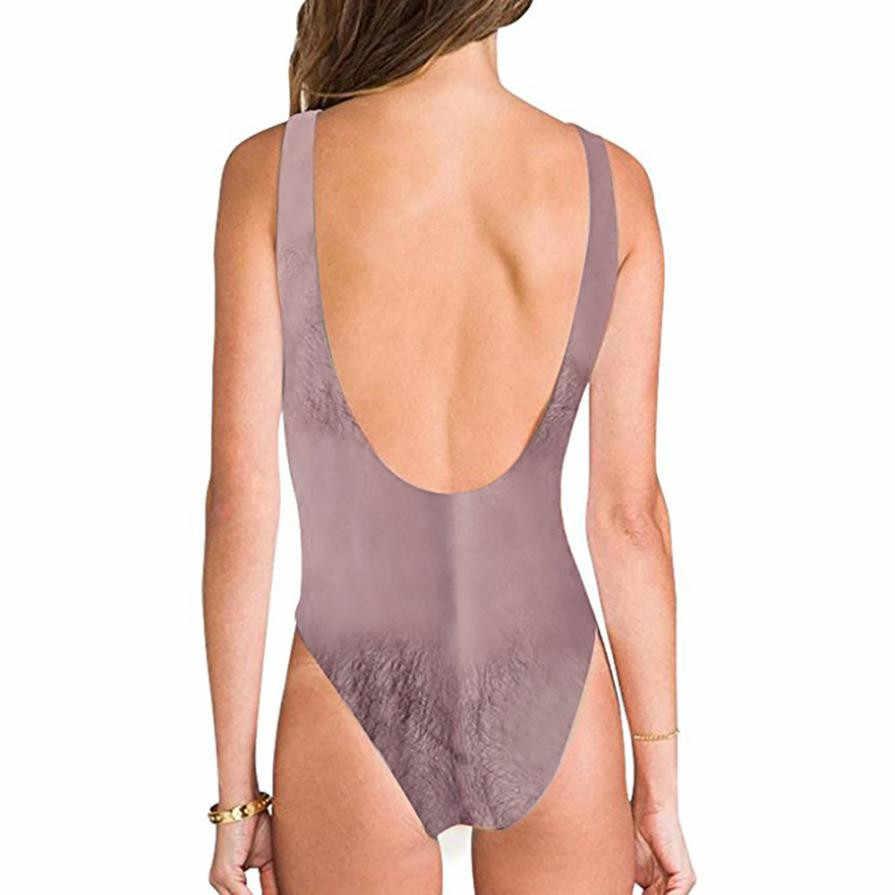 ホットおかしいボラットプリント水着女性のセクシーな胸毛水着水着水着水着ビーチウェアモノキニ