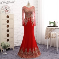 Glamorous Party Ball Gowns Dresses Long Mermaid Sexy Side Slit Satin Black Lace Applique Jewel O