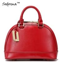 Fashion Shell bag Candy colored Genuine leather women handbag messenger bag real cowhide Tote mini size zipper closure