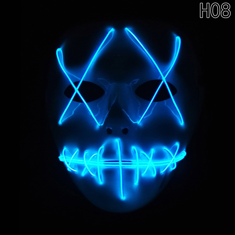 HTB1Vr8SaBUSMeJjSszbq6zerFXa6 - 1 Piece Halloween ghost Slit mouth light up glowing LED Mask Costume PTC 259