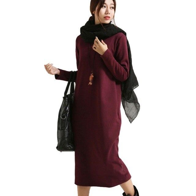 SCUWLINEN зимнее платье 2018 Vestido женское платье плюс размер бархатное утепленное термобелье базовое платье с длинным рукавом однотонное теплое платье S59
