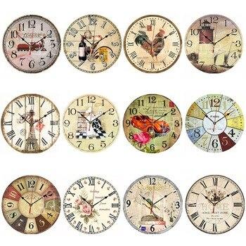 בציר עץ קיר שעון גדול עלוב שיק כפרי מטבח בית עתיק סגנון