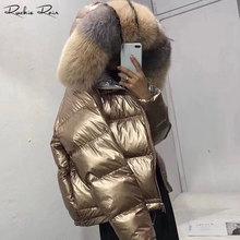 Women Real Fur Coats Down Jackets with Fox Fur Trim Lady s Fashion Long Sleeve Zipped