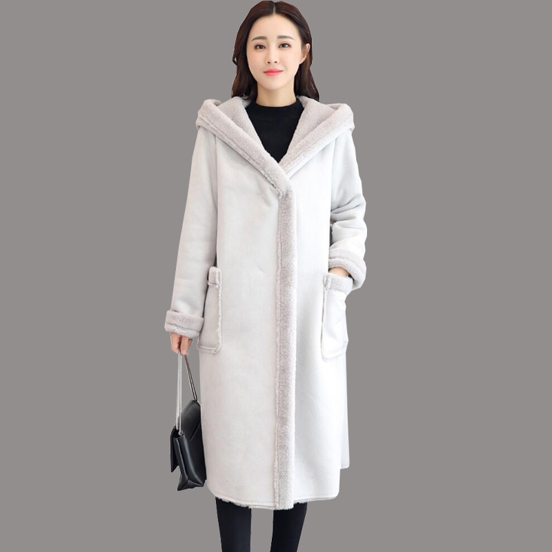 2019 Winter Women Fashion Lambs Wool Sheepskin Hooded Coat Female Long Shearling Coats Double-breasted Faux   Suede     Leather   Jacket