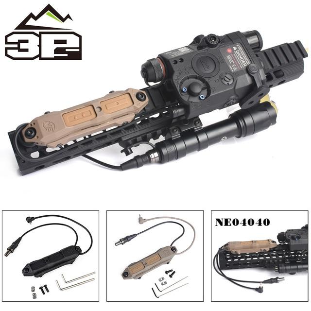 Pressostato remoto MLOK KEYMOD tattico per PEQ Scout arma luce doppio pulsante torcia da caccia PEQ Fit Picatinny Rail