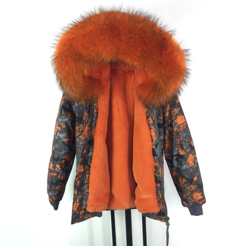 Новинка зимы Дизайн оранжевый Для женщин Курточка бомбер большой мех енота с капюшоном Печать бомбардировщики