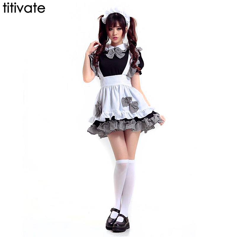 Nuevo Novetly Disfraces de mujer Bowknot French Maid Costumes / - Disfraces