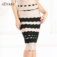 купить Bandage Bodycon Skirt For Women 2019 Summer New Arrivals Striped Hollow Out Pencil Skirts Lady Celebrity Party Knee Length Skirt по цене 2472.51 рублей