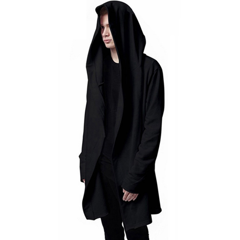 Men Hooded Jacket Black Gown Best Quality Hip Hop Mantle Hoodie Sweatshirts long Sleeves Cloak Coats Outwear Man Fashion