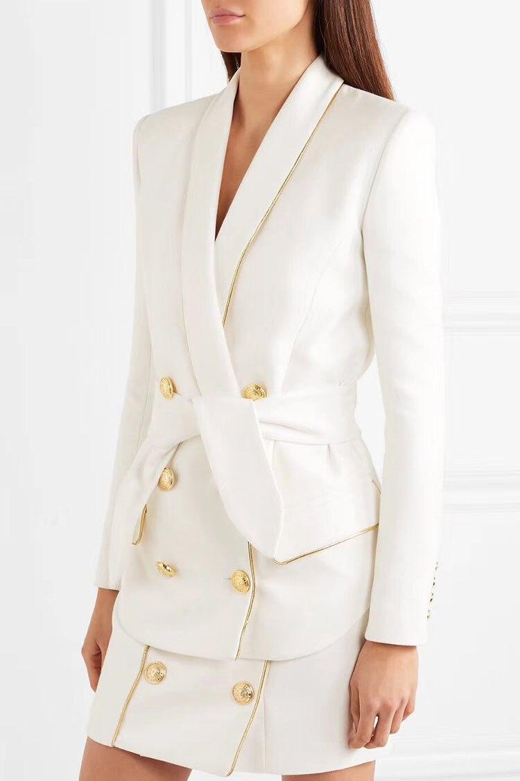 Blazer Or Bouton Relief Taille 2018 Double Femme Col Up blanc Nouée Boutonnage Manches Châle Longues Tuyauterie Blanc Noir Ceinture Poches À Rabat zY0qnwp5