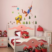 cute cartoon funny Winnie the Pooh bear tiger tree home decor for kids room wall stickers nursery store animals decasl mural art