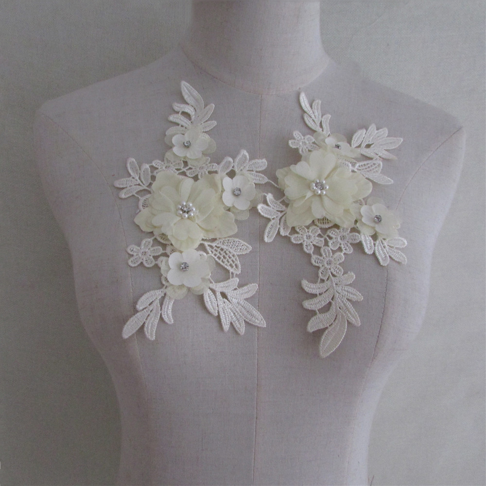 1pair White Lace Collar Fabric Flower Diy Sewing Embroidery Supplies