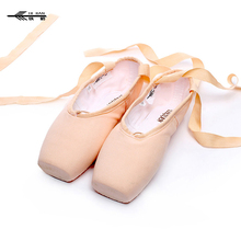 New High quality Fabric shoes pointe /ballet Breathable satin ribbon ties soft sole shoes + Shoes bag
