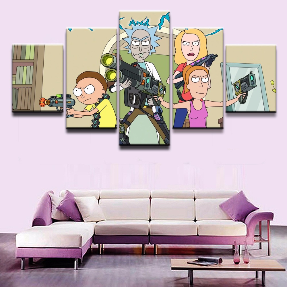Rick and Morty rty Anime 5 Pieces Home Print Poster Canvas Painting Wall Art Living Room HD Printed