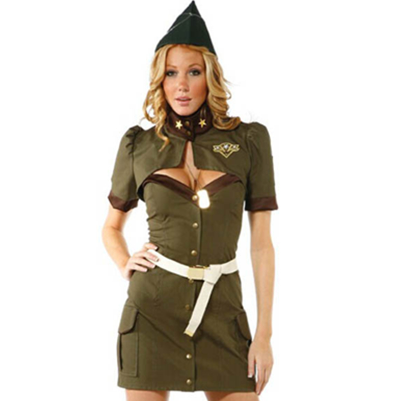 Adult Ladies Army Girl Costume US Military Fancy Dress Outfit Womens
