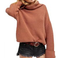 European American Style Casual Half Collar Turtleneck Long Sleeve Chunky Solid Color Baggy Knitted Pullover Women's Sweater