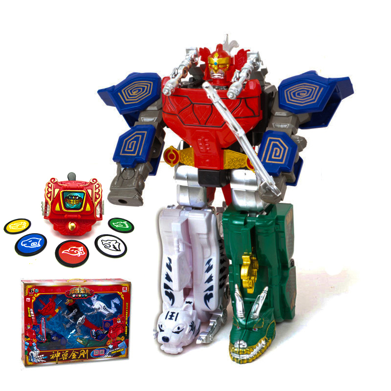 Kids Assembly Dragon Action Figure Toys Transformation Robot Children Gifts Dinosaur Ranger Megazord 5 in 1 assembly toys transformation robot dinosaur rangers megazord action figures kids christmas gifts