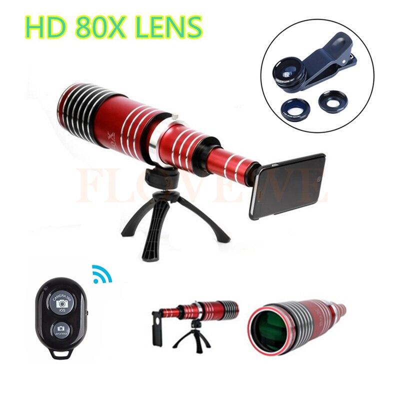 2017 Téléphone Lentes Kit 80X Métal Téléobjectif Pour Samsung S3 S4 S5 S6 S7 bord Plus Télescope Fish eye macro Grand Angle Lentilles