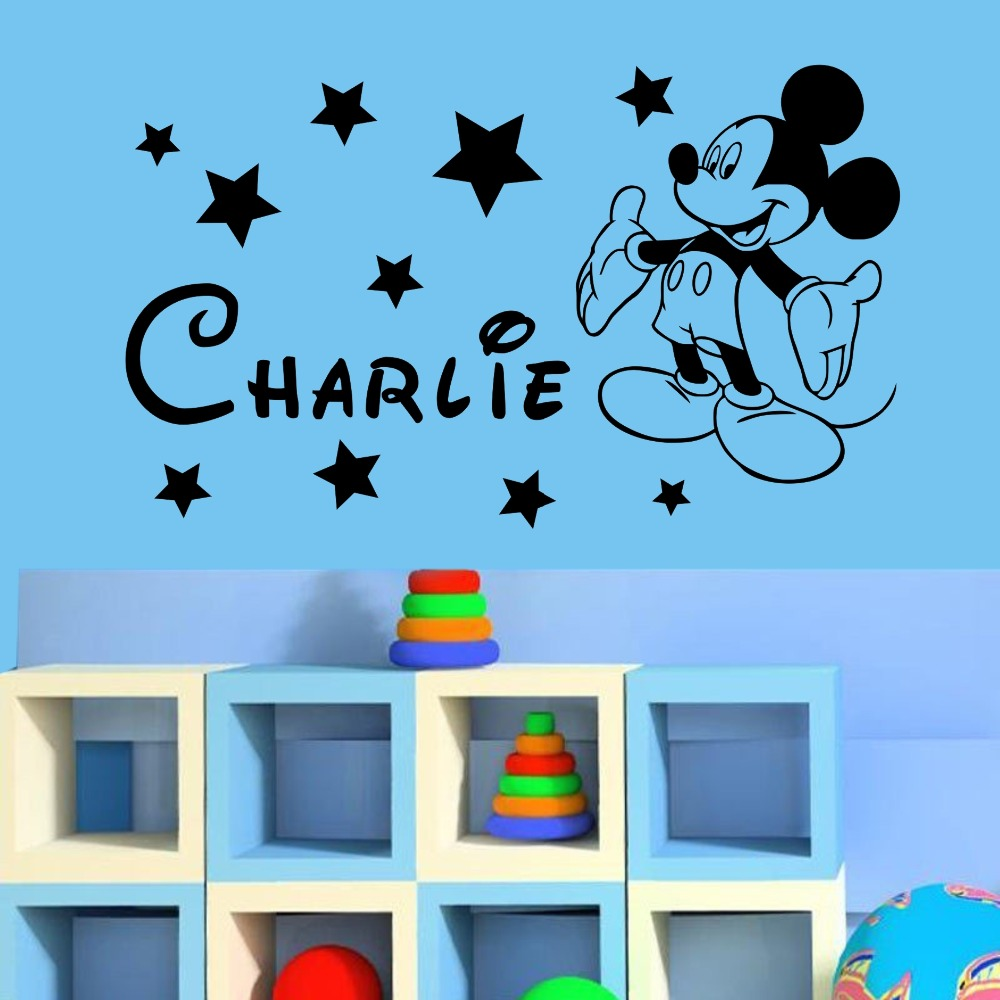 YOYOYU Mickey Minnie Mouse Custom Name Kids Boys Girls Bedroom Nursery Wall Decal Children Vinyl Art Sticker For Home Decoration