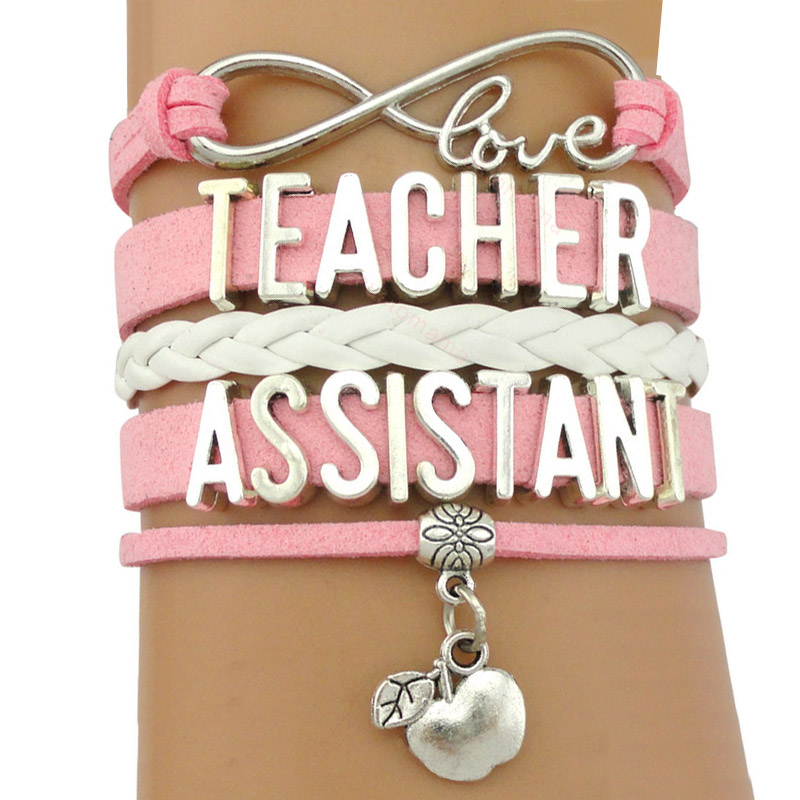 Teacher Assistant Teach Special Needs Apples Infinity Love Charm Bracelets Handmade Pink Jewelry Women Men Unisex Gift Custom