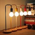 Moderno Color Nordic Simple Lámpara de Mesa E27 Titular de la Sala de Estudio de Escritorio luz Madera Dormitorio Sola Cabeza de la lámpara de Lectura de la Obra De Hierro Decoración