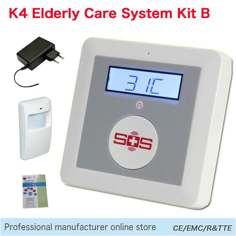 GSM Alarm System Home Alarm, Kit DIY House Alarm Fire Intrusion Safety SOS Home Burglar Alarm Elderly System K4 Package Set B